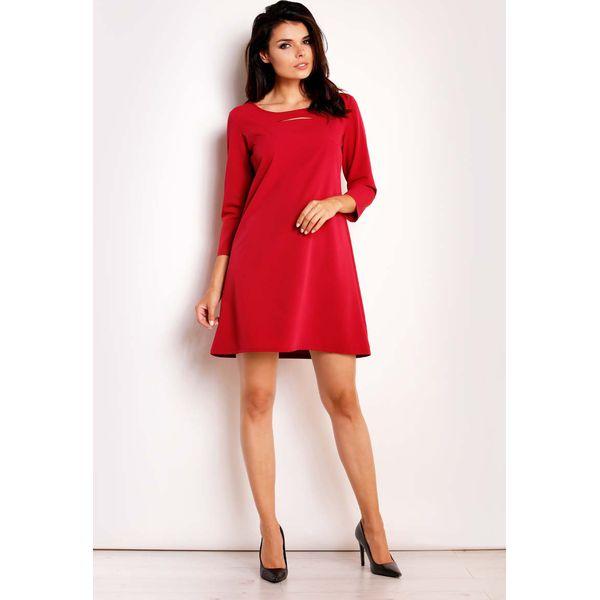 9916974c77 Czerwona Sukienka Trapezowa z Pęknięciem przy Dekolcie - Czerwone ...