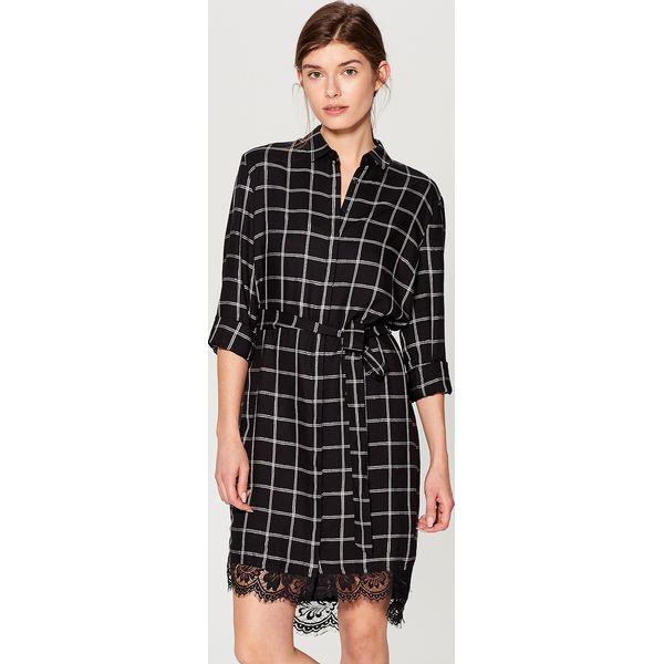 208bade6 Koszulowa sukienka w kratę - Czarny
