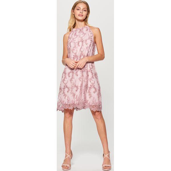 73c384cc74b3fc Tiulowa sukienka zdobiona kwiatowym haftem - Różowy - Moda w Women's ...