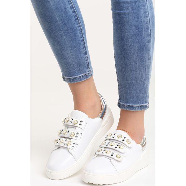 Biało Srebrne Buty Sportowe No Alibi