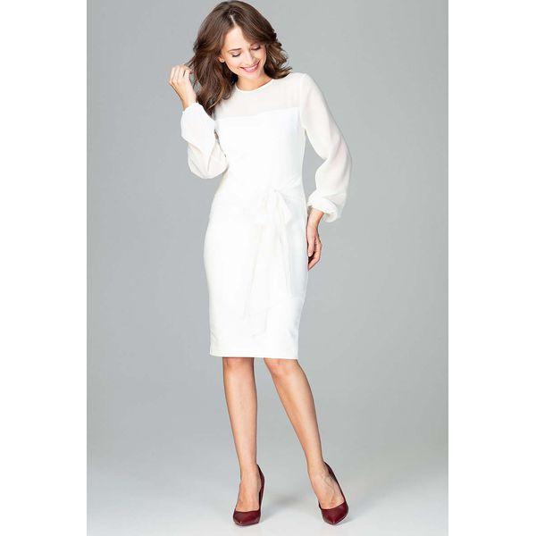 30b1e2a6e7 Ecru Kobieca Wizytowa Sukienka z Prześwitującymi Rękawami - Szare ...