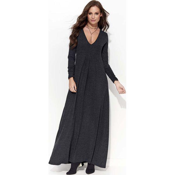 7bd6ea4383 Grafitowa Sukienka Maxi z Dekoltem w Serek - Szare sukienki marki ...