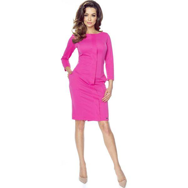 412cd2503d Malinowa Dopasowana Sukienka z Plisą na Przodzie - Czerwone sukienki ...