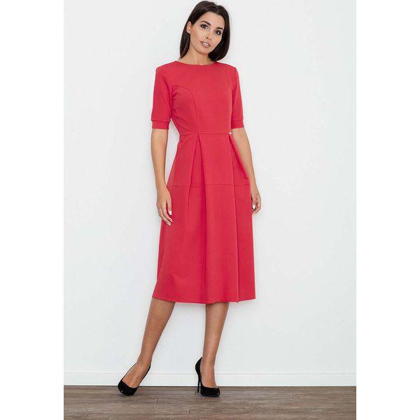 92b270cdf0 Czerwona Sukienka Elegancka Wizytowa Midi - Czerwone sukienki marki ...