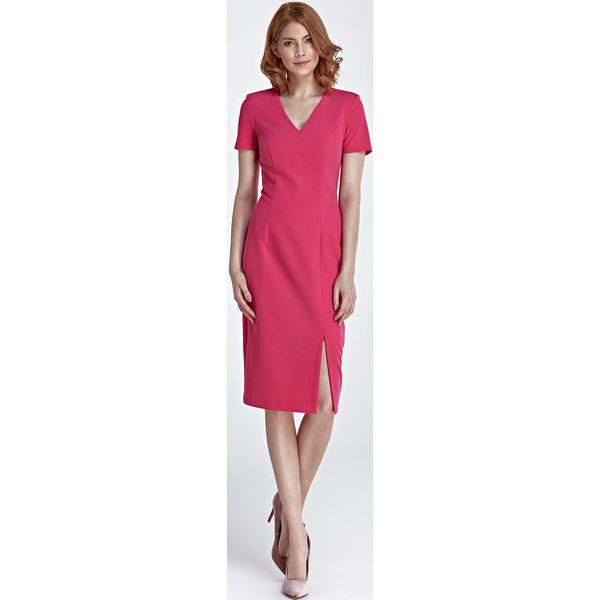 6e63d7eeb8 Fuksja Sukienka Dopasowana Midi Z Dekoltem W Szpic Czerwone