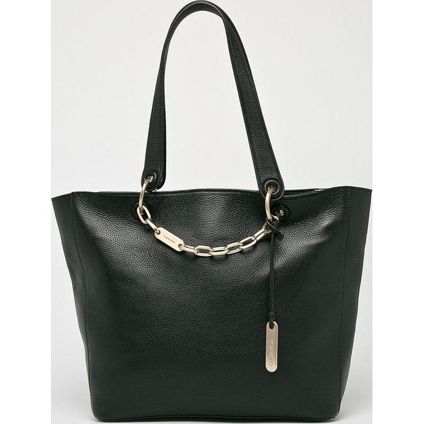 7987dfe8771d4 Calvin Klein - Torebka skórzana - Szare torebki klasyczne marki ...