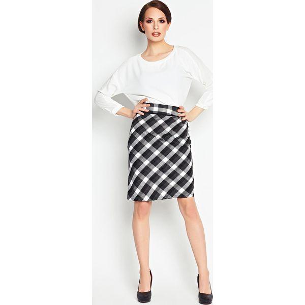 Bardzo dobra Czarna Ołówkowa Spódnica Midi w Kratkę - Czarne spódnice marki ED65