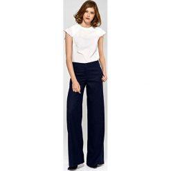 0140f4b3d16de4 Granatowe Stylowe Spodnie Damskie z Szerokimi Nogawkami. Niebieskie spodnie  materiałowe Molly.pl, bez