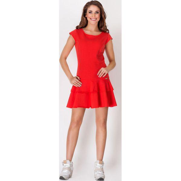 007f779693 Czerwona Skromna Letnia Sukienka z Falbankami na Dole - Czerwone ...