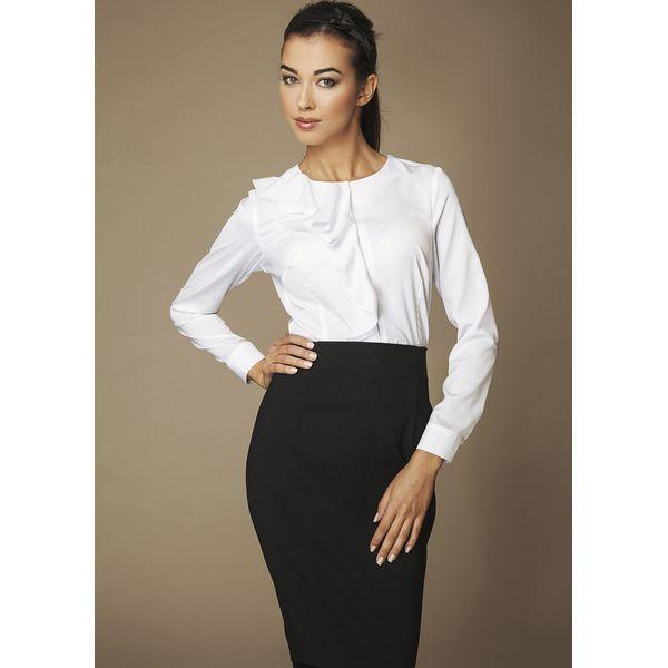 5115885fead70e Biała Elegancka Koszula z Falbanką - Białe koszule Molly.pl ...