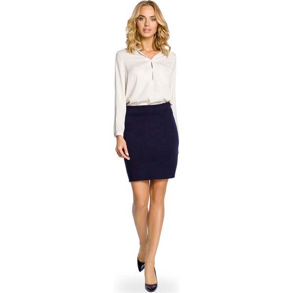 62da601428 Granatowa Ołówkowa Spódnica przed Kolano - Niebieskie spódnice marki ...