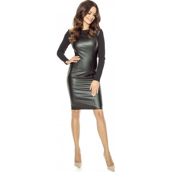 f2a206835e Czarna Nowoczesna Sukienka z Eko-skóry - Czarne sukienki marki Molly ...