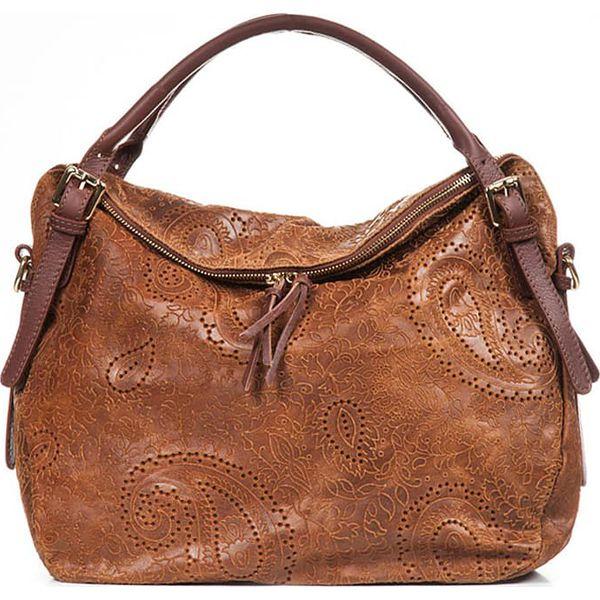 3317ac4df0954 Skórzana torebka w kolorze brązowym - 50 x 40 x 16 cm - Brązowe ...