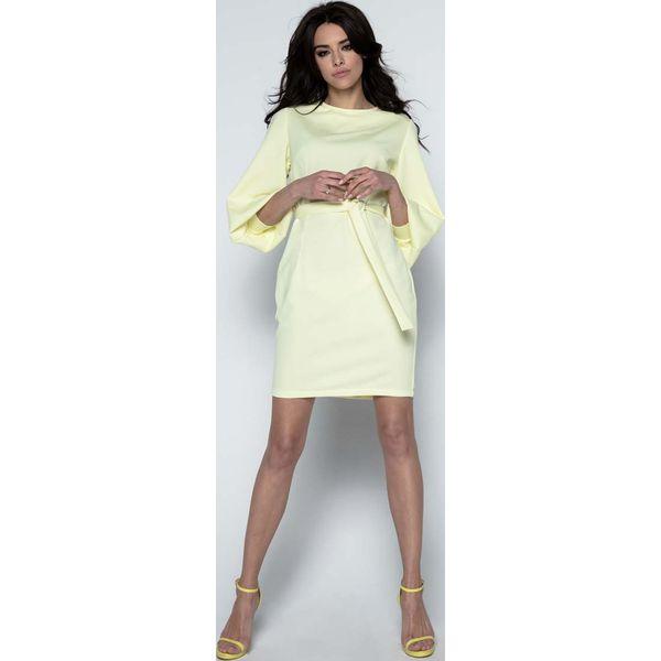 26961e6f7f Żółta Sukienka z Bufiastym Rękawem 3 4 - Sukienki marki Molly.pl. Za ...
