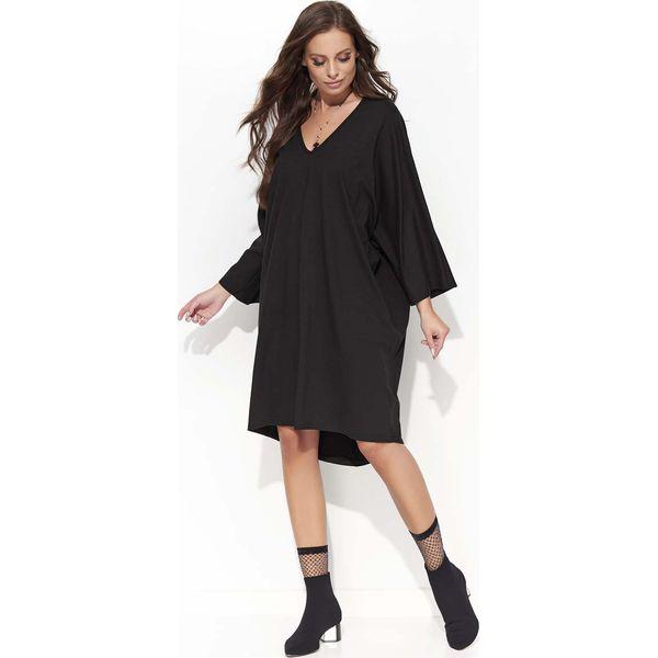 fafe09e1bdc810 Czarna Oversizowa Sukienka z Szerokim Rękawem Typu Kimono - Sukienki ...