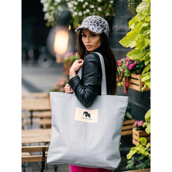 Tote bag z tkaniny płóciennej szara street fashion Szary