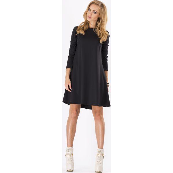 966b806386 Czarna Luźna Sukienka Midi z Długim Rękawem - Czarne sukienki marki ...