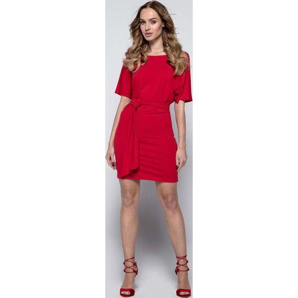 125a153f29 Czerwona Wyjściowa Dopasowana Mini Sukienka z Kimonowym Rękawem ...