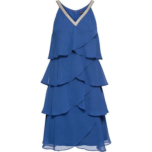 96eae41b6c Sukienka z falbanami i aplikacją bonprix błękit królewski ...