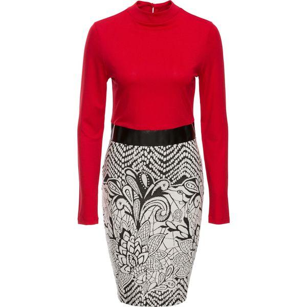 0218a420e1 Sukienka z wzorzystą częścią spódnicową bonprix czerwono-czarno ...