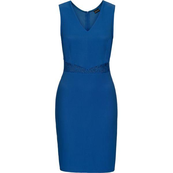 f0cd9e22ca Elastyczna sukienka w prążek z koronkowymi wstawkami bonprix błękit ...