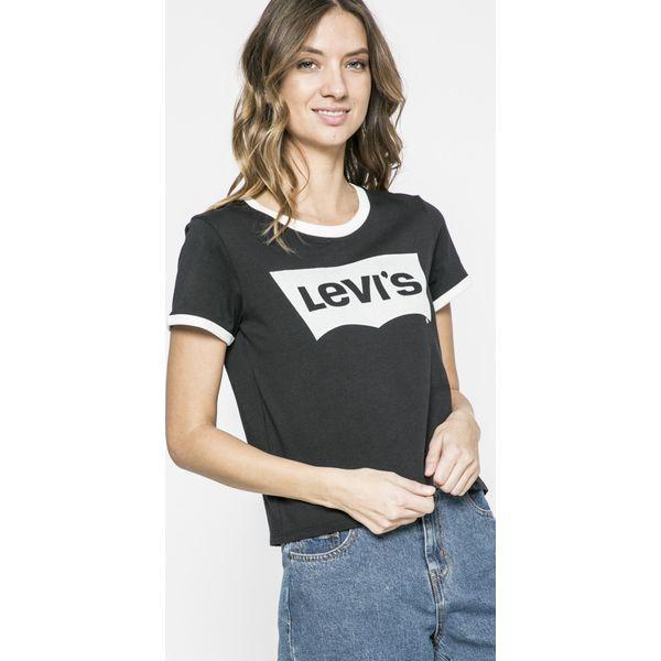 2768759fd Levi's - Top - Brązowe t-shirty Levi's, z nadrukiem, z bawełny ...