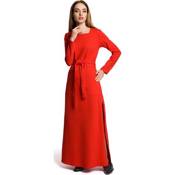 e03f2abea2 Czerwona Sukienka Dresowa Maxi z Dekoltem Caro z Rozcięciem ...