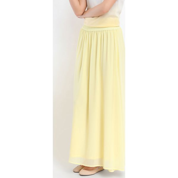 094264cd40 SPÓDNICA DŁUGA DAMSKA GŁADKA - Żółte spódnice marki TROLL