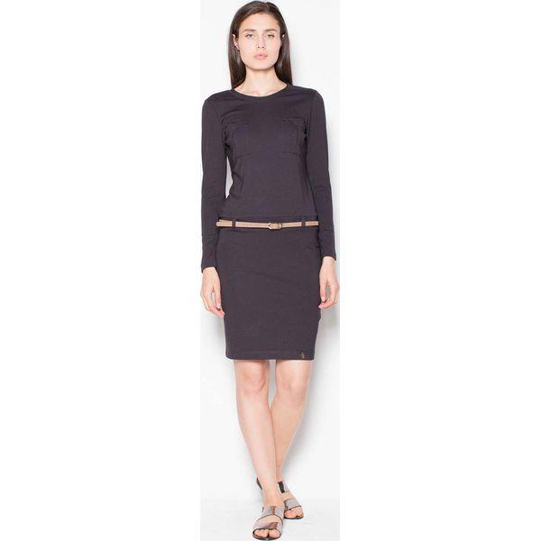 91ed016767 Czarna Sukienka Prosta ze Skórzanym Paskiem - Czarne sukienki marki ...