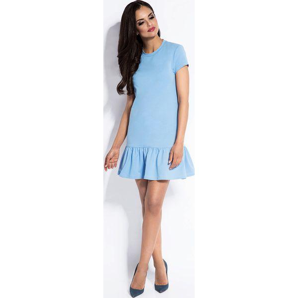d6f00fd119 Błękitna Dresowa Sukienka z Falbanką na Dole - Niebieskie sukienki ...