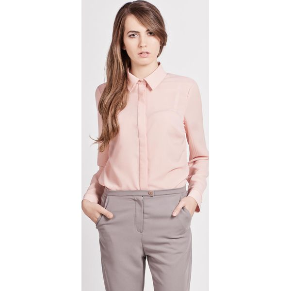 13416015c2ad Różowa Klasyczna Koszula Damska z Krytym Zapięciem - Koszule marki ...