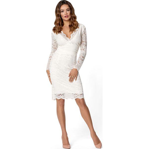 Zaawansowane Elegancka Kremowa Dopasowana Sukienka Koronkowa z Dekoltem V FR36