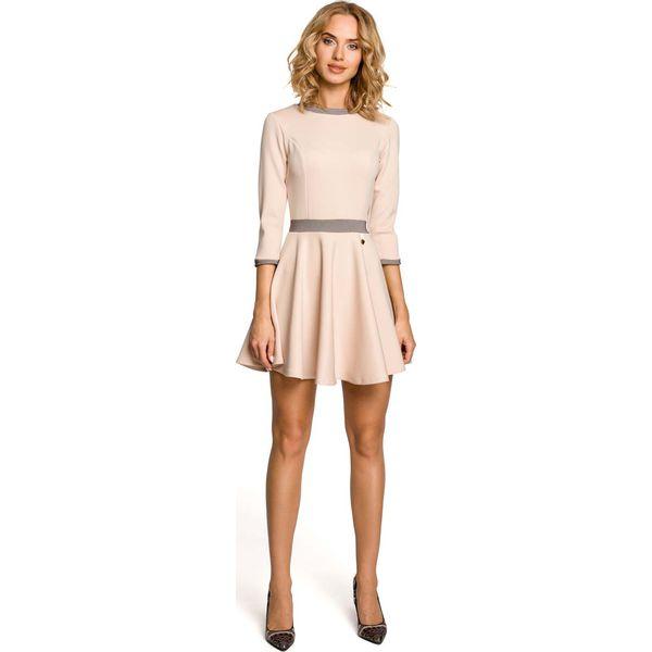 11bb52dea5 Beżowa Rozkloszowana Sukienka z Wstawkami w Pepitkę - Sukienki marki ...