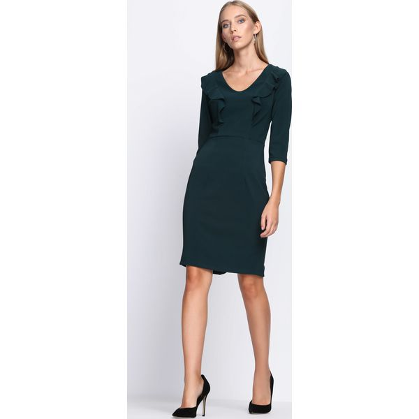 ec110e53fc Ciemnozielona Sukienka Black Out - Czarne sukienki marki Born2be. Za ...