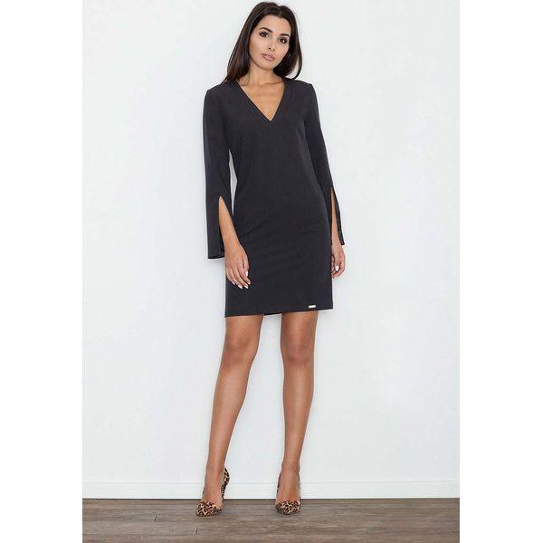 f948382440 Czarna Sukienka Koktajlowa Mini z Rozciętym Rękawem - Sukienki marki ...