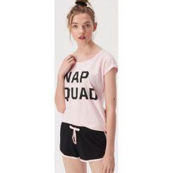 f8ac9241eb2637 Dwuczęściowa piżama z napisem Nap squad - Różowy. Czerwone piżamy Sinsay,  l, bez