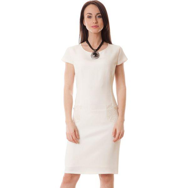 15ba586e83 Sukienka w kolorze ecru - Białe sukienki marki Semper