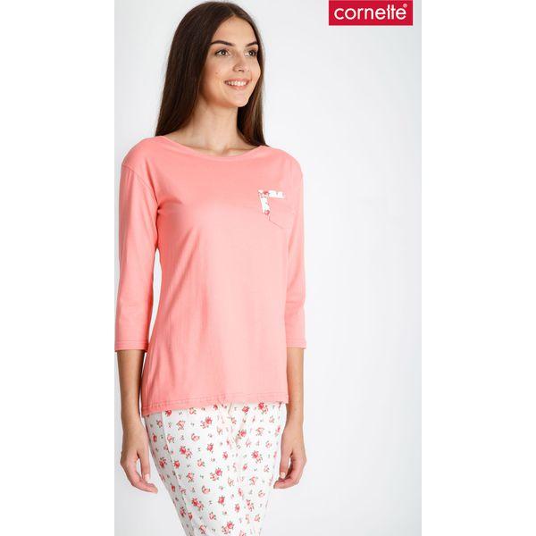 04a79d9863 Koralowa piżama z rękawem 3 4 QUIOSQUE - Pomarańczowe piżamy marki ...
