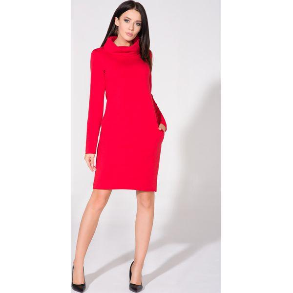 ce527de9df Czerwona Sukienka Dzianinowa z Kominem - Czerwone sukienki Molly.pl ...