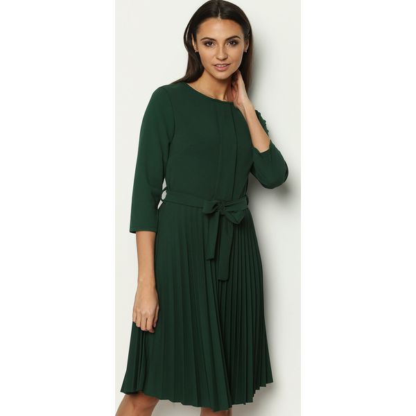 36263daf49 Ciemnozielona Sukienka Pleated Belted - Sukienki marki Born2be. Za ...