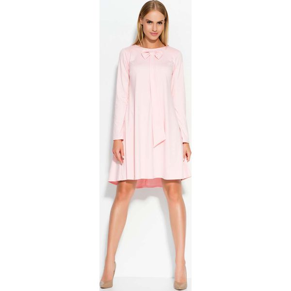7f8286aeb0 Różowa Sukienka Trapezowa z Krawatką i Kokardą - Czerwone sukienki ...