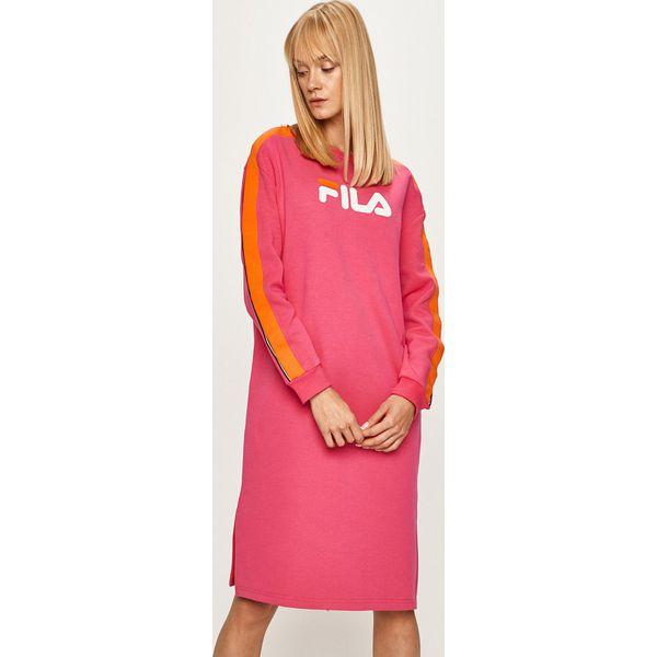 Różowa odzież Fila, bez kołnierzyka, z krótkim rękawem