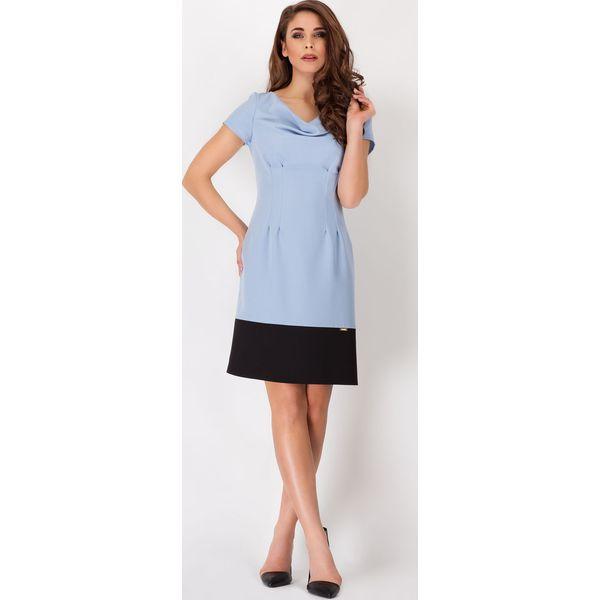 3ad12711 Niebieska Elegancka Sukienka z Dekoltem Typu Woda z Krótkim Rękawem