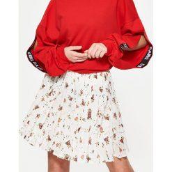 3df2f7bda18d21 Spódnice: Plisowana minispódnica w kwiaty - Kremowy