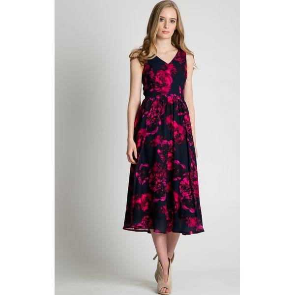 185b1308c9 Granatowa sukienka maxi w różowe wzory BIALCON - Czerwone sukienki ...