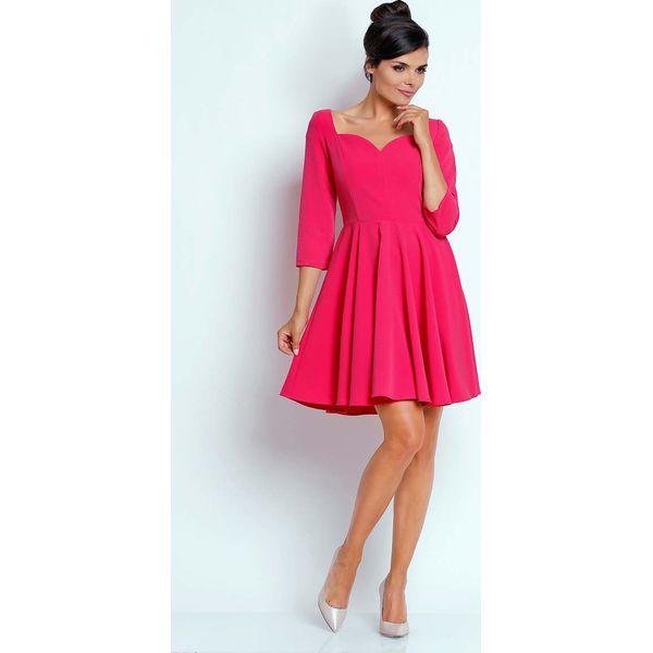 17cd361381 Różowa Kobieca Rozkloszowana Sukienka z Dekoltem w Serce - Czerwone ...