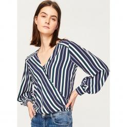 cfb9460734d5fe Bluzka z kopertowym dekoltem - Niebieski. Niebieskie bluzki Reserved, l,  bez wzorów,