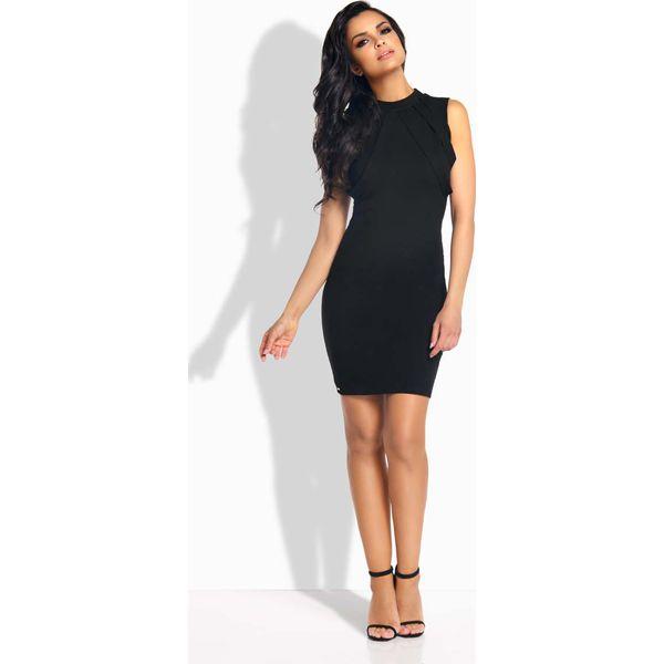 fa8e624912 Czarna Sukienka Ołówkowa Mini z Ozdobnymi Paskami - Czarne sukienki ...
