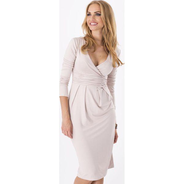 3924101c Beżowa Elegancka Sukienka Midi z Kopertowym Założeniem
