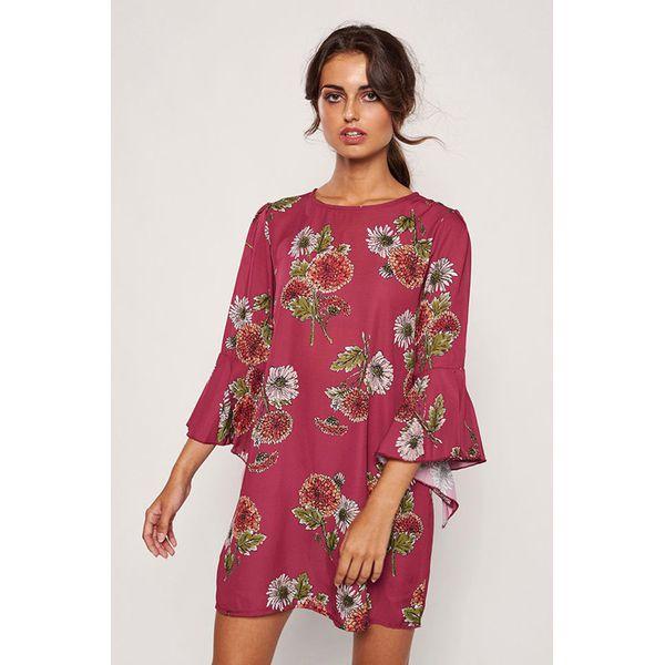2dc78c726c Sukienka w kolorze bordowym ze wzorem - Czerwone sukienki marki ...